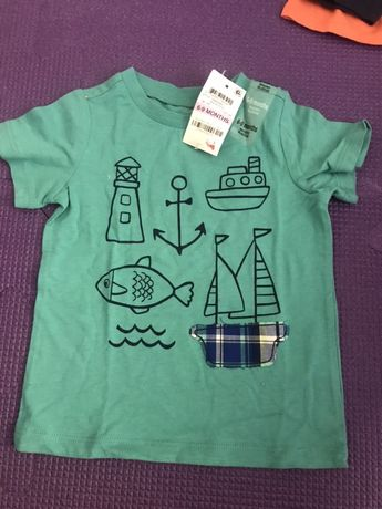 Новые футболки для мальчика 6-9 месяцев
