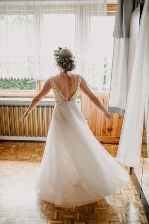 suknia ślubna rustykalna/boho, oryginalna