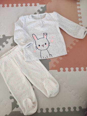 Piżama ciepła welurowa króliczek r. 80