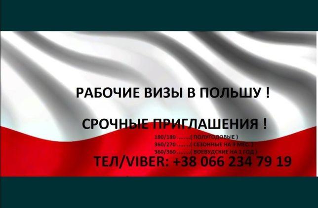 Рабочая виза в Польшу /приглашения для пересечения границы.
