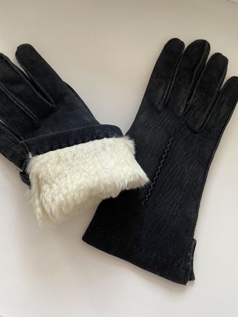 Теплые замшевые перчатки на меху