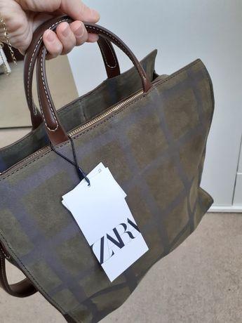 Torebka torba shopper ze skóry Zara nowa
