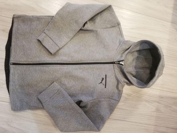Bluza młodzieżowa Puma rozpinana 152 XS szara z kapturem