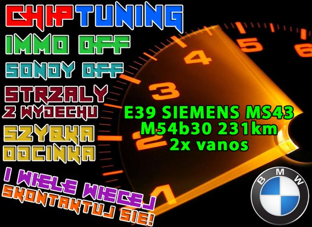 Sterownik ECU komputer BMW E39 MS43 M54b30 EWS OFF STRZAŁY CHIP MTUNE