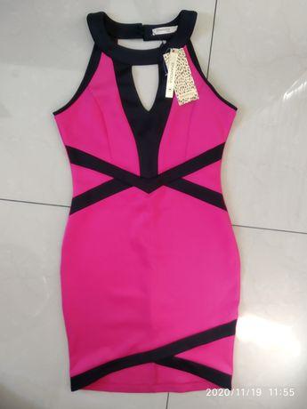 Nowa sukienka różowa czarne paski r. M/L