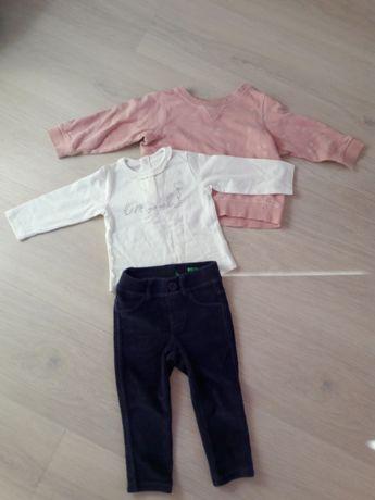 Spodnie Benetton na 12 mies.+ bluza H&M 74cm+koszulka Mayoral