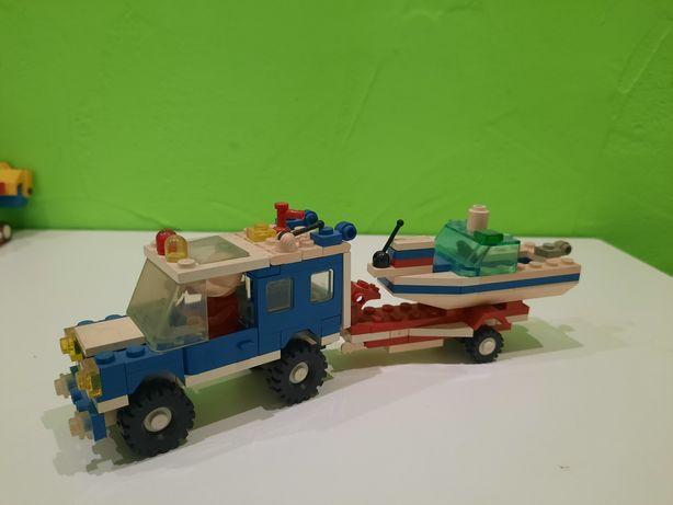 Zabawka PRL! Klocki Lego Straż przyczepa motorówka