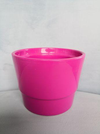 Osłonka ceramiczna na doniczkę, różowa, 12cm