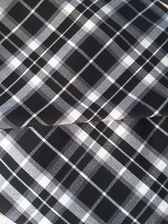 Tkanina do szycia materiał elastyczny krata kratka biały czarny tkanin
