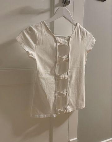 Koszulka t shirt  biała z odkrytymi plecami