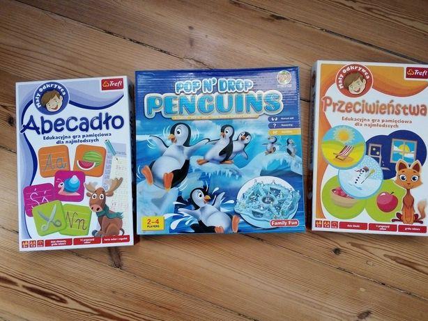 Zestaw 3 gier dla dzieci: Abecadło, Przeciwieństwa, Pingwiny