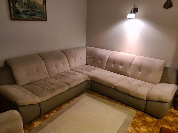 Zestaw wypoczynkowy duży rozkładany narożnik plus fotel - super stan