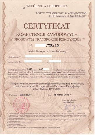 Предоставлю Certyfikat Kompetencji Zawodowych przewóz rzeczy