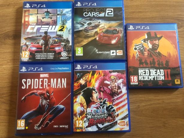Gry PS4, Red Dead Redemption 2, The Crew 2, Spider Man, Project Cars 2