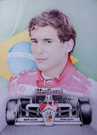 Ayrton Senna Formuła 1 Oryginalny rysunek A3