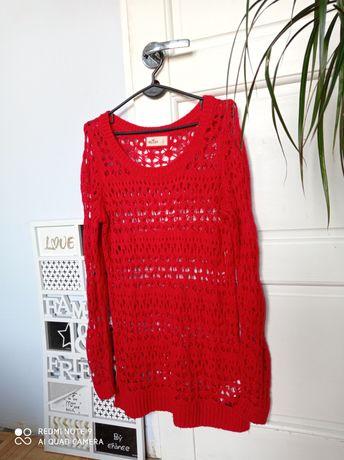 Hollistet modny czerwony ażurowy sweter 38 40 M idealny