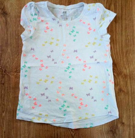 Bluzka H&M roz.122-128 cm / 6-7-8 lat koszulka biała motyle motylki