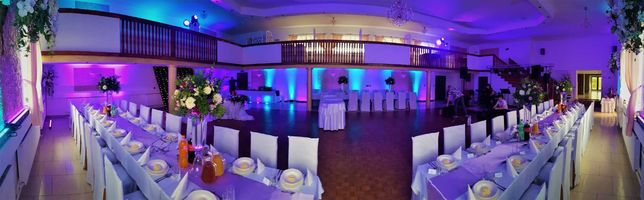 Dekoracja światłem, oświetlenie na wesele, ciężki dym