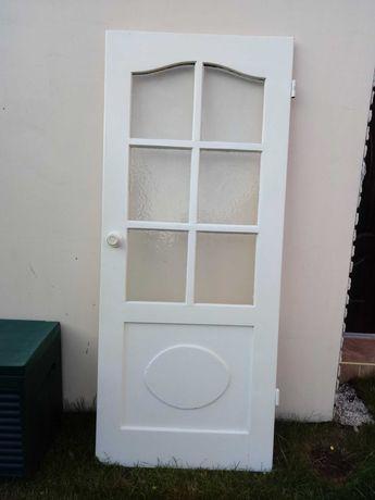 Drzwi pokojowe 80cm drewniane lewo stronne z szybą styl prowansalski