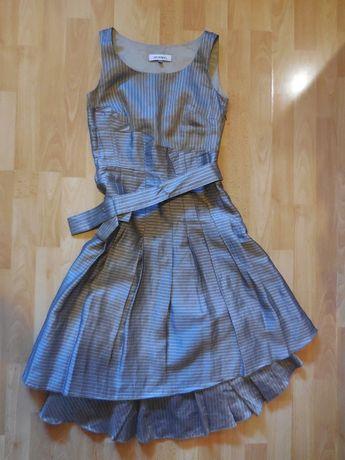 Sukienka Monnari r. 34 w lśniące prążki grafit złoto srebro brąz plis