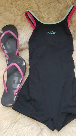 Jednoczęściowy strój kąpielowy 134 Decathlon Nabaij basen klapki Arena