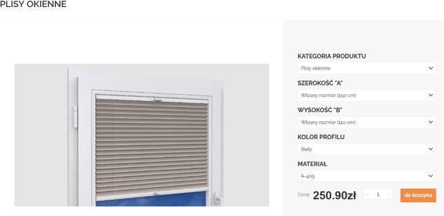 Plisy okienne żaluzje 150 cm x 110 cm beżowy/kremowy plisa Karpol