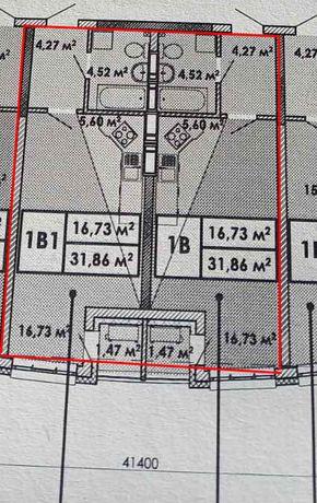 Медовый 1-к смарт квартира (31.86м) 2-й этаж.Эта осень, переуступка