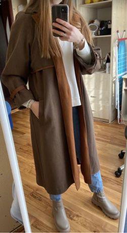Винтажное пальто Stradivarius 44р., бежевое пальто, плащ, куртка,тренч