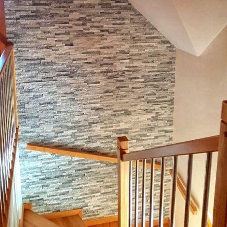 płytki kwarcyt kamien 36x10 ściana elewacja kominek