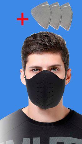 Спортивная противопылевая маска с 3 сменными фильтрами