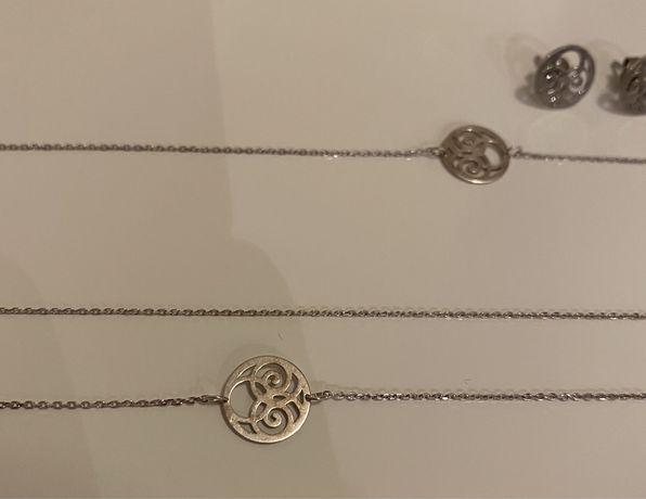 łańcuszek bransoletka kolczyki srebro YES
