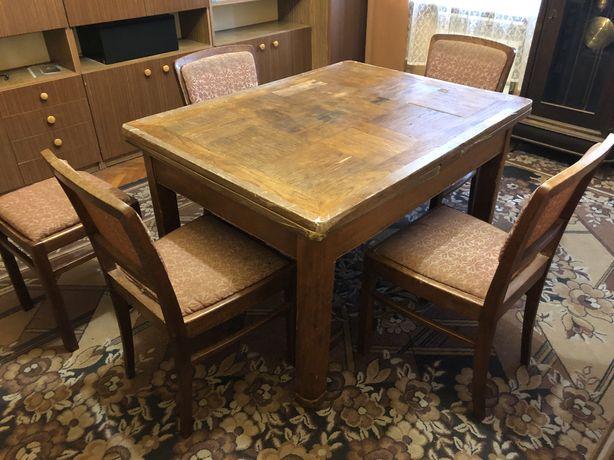 Stół rozkładany z krzesłami i taboretem antyk ponad 100 lat ORGINAŁ