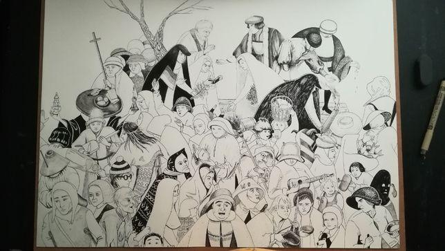 Desenho original sobre o Carnaval e Quaresma de Brueghel - 42 x 59,4cm