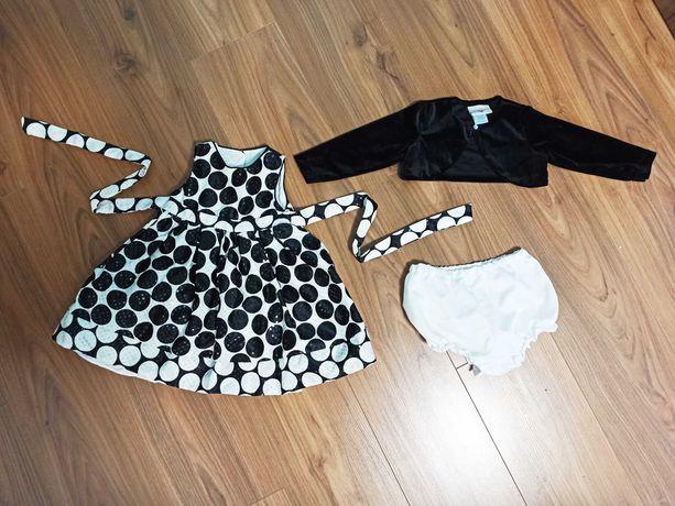 Платье 12 18 мес 1,5 года 60-е нарядное Стиляги горох чёрно-белое