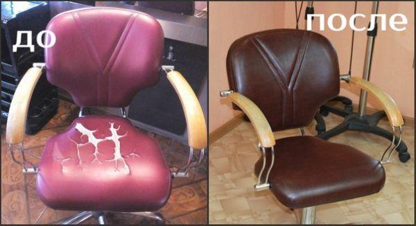 Перетяжка парикмахерских кресел, массажных столов, диванов