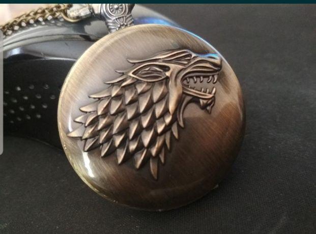 кулон часы на цепочке с лютоволком игра престолов дом старков