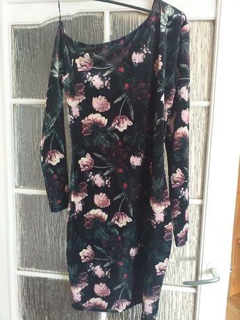 Sukienka welur kwiaty rozm 40