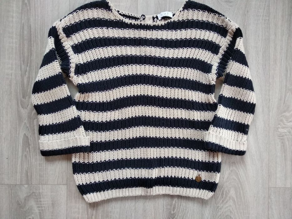 Granatowo-kremowy sweterek w paski z ozdobnymi guzikami 38/40 Gorlice - image 1