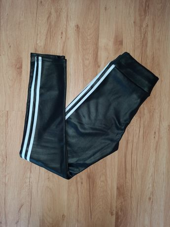 Piękne legginsy spodnie czarne XL eko skórka