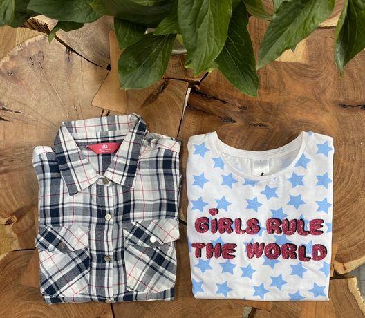 Zestaw koszula w kratkę bluzka r. 128