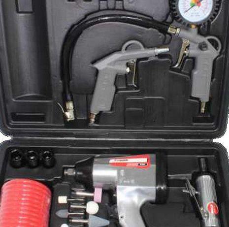 Kit ar comprimido pneumático c/ 28 peças, pistola de soprar, de pintur