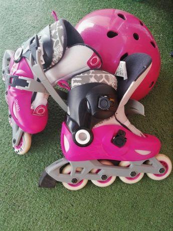 Rolki + kask + ochraniacze OXELO różowy dla dziewczynki KOMPLET!