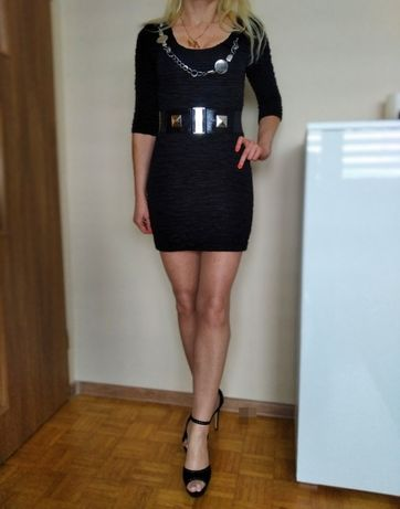 BOSKA sukienka damska czarna mini srebrny łańcuch S M L GRATIS WYSYŁKA