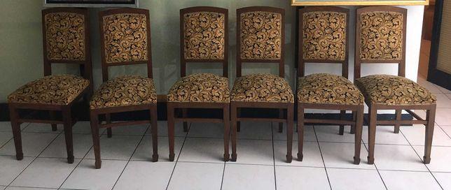 6 Cadeiras de madeira e tecido   Antiguidades