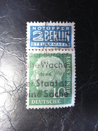 Почтово-налоговая марка Steuermarke Notopfer 2 Berlin Германия 1949 г.