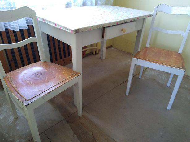 Stary stół wiejski kuchenny + dwa krzesła
