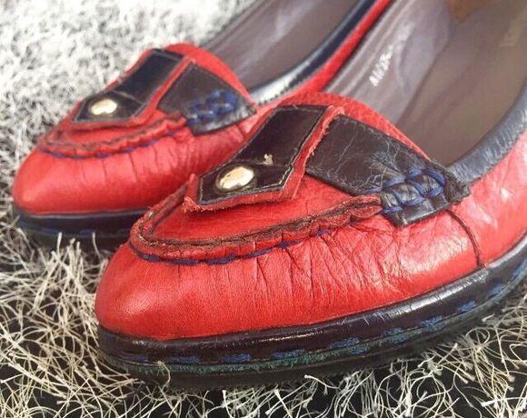38,5-39рр RED красные туфли натуральная кожа! платформа танкетка