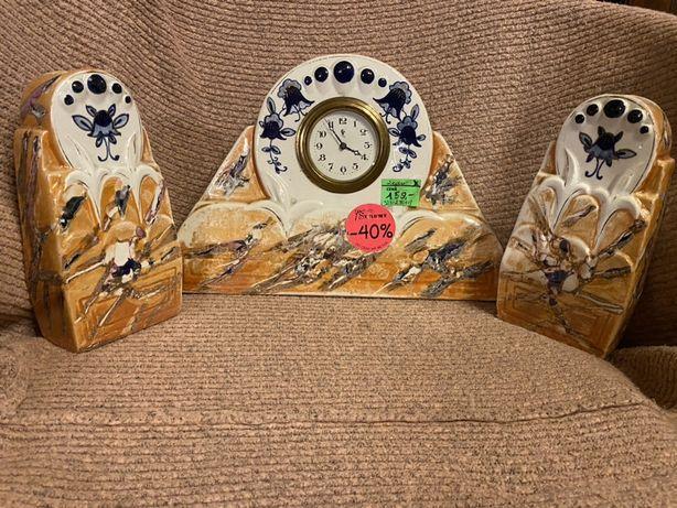Zegar+2 wazon/komplet/antyki stylowy wegrow