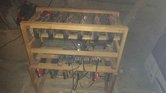 Майнинг ферма на 11 карт Asus Rog Strix rx 580 8gb Samsung 382mh