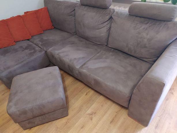 Narożnik kanapa sofa świeży materiał + pojemnik na pościel + pufa